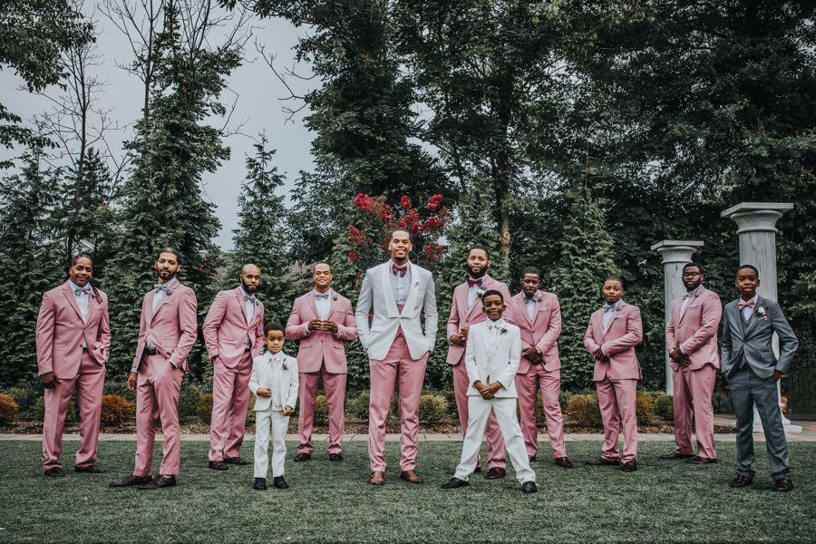 pink groomsmen suits