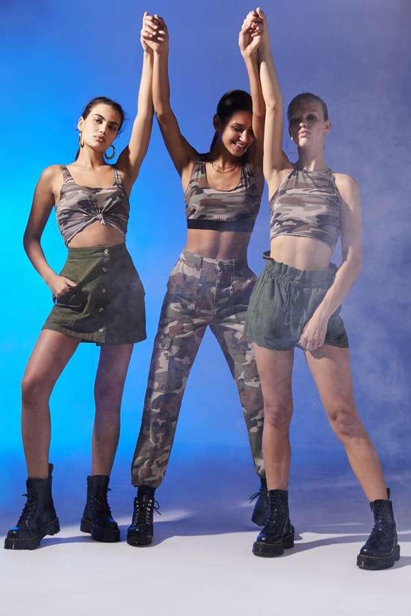 a11793fb8a9 Girl Group Raw Edge Cropped Camo Tank Top Halloween Costume