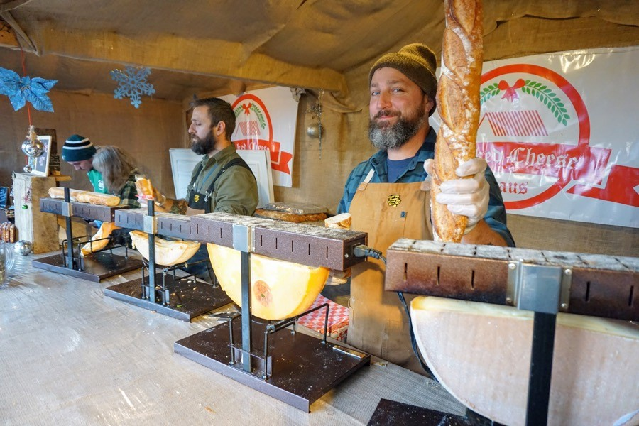philadelphia christmas village raclette baked cheese