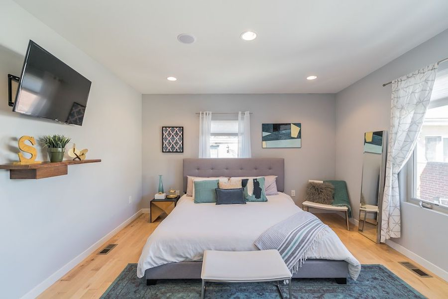house for sale northern liberties modern townhouse master bedroom