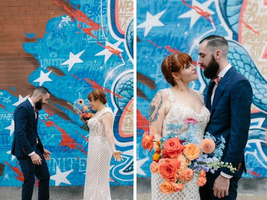 76ers mural wedding portaits