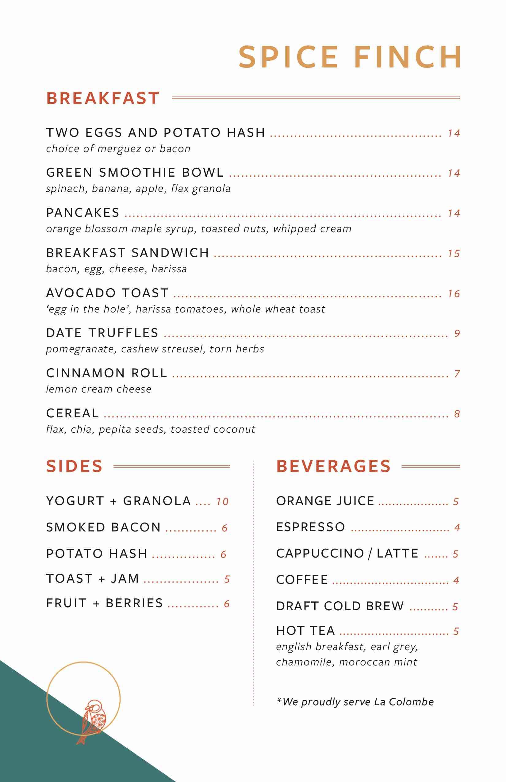spice finch breakfast menu