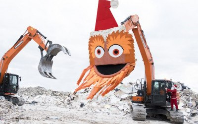 gritty christmas card garbage