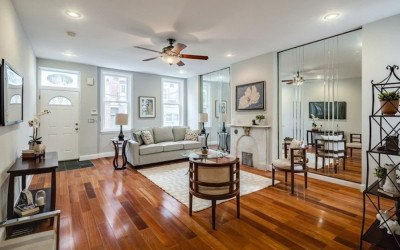 house for sale queen village rowhouse rehab living room
