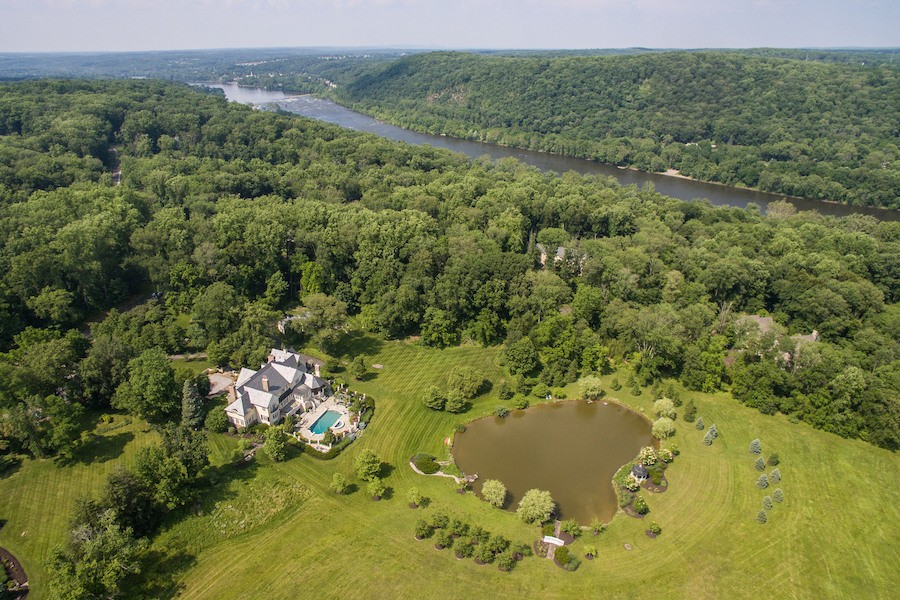 house for sale solebury rockwood farm aerial view