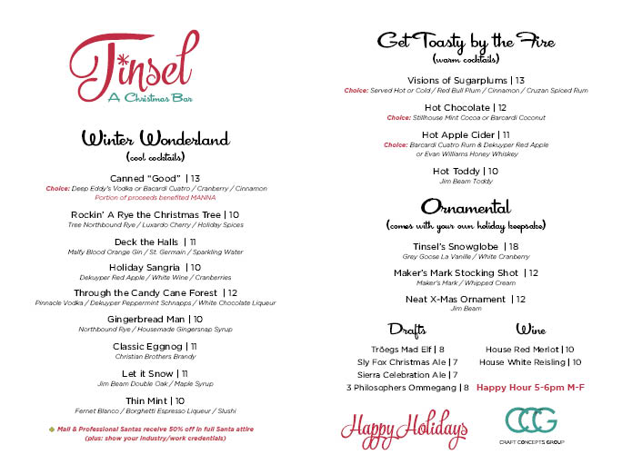 tinsel christmas bar menu philadelphia