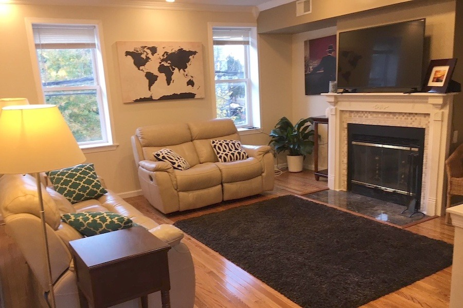 get cozy by the fireplace in one of these five city apartments for rent. Black Bedroom Furniture Sets. Home Design Ideas