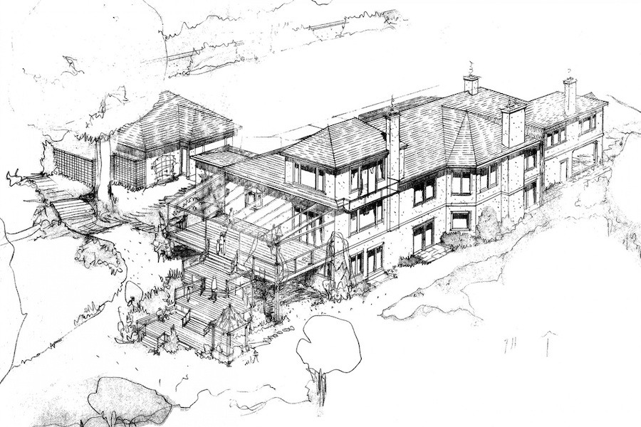 house for sale gladwyne contemporary architect's sketch
