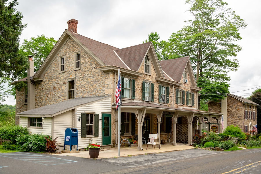 house for sale solebury historic post office exterior corner view