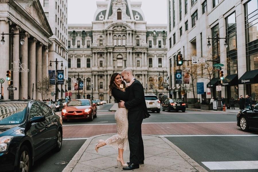 city hall engagement photos
