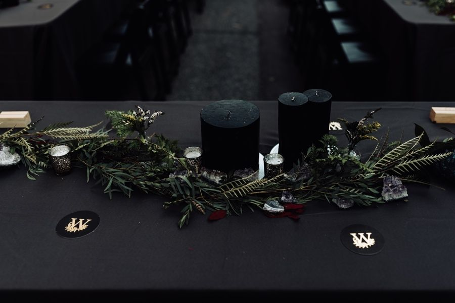 black wedding decor