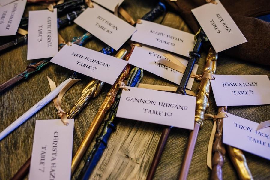 wand escort cards harry potter wedding ideas