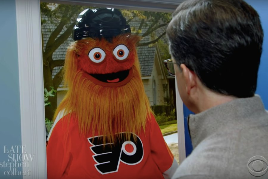 colbert super bowl party gritty