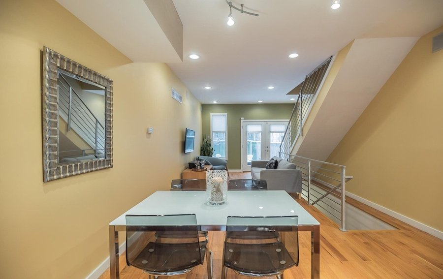 house for sale roxborough modern rowhouse dining living room