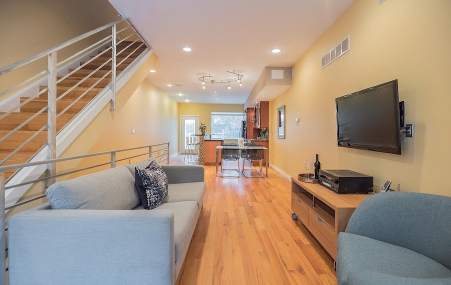 house for sale roxborough modern rowhouse living room