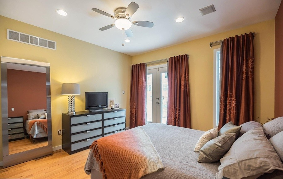house for sale roxborough modern rowhouse master bedroom