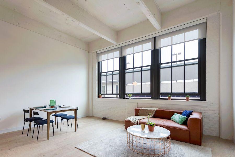 sixteen hundred lofts tour model living room