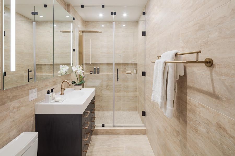 the atlantic apartments neoclassical bathroom