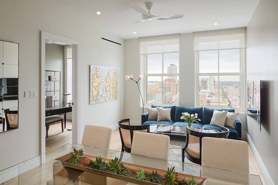 the atlantic apartments neoclassical 3br living-dining area