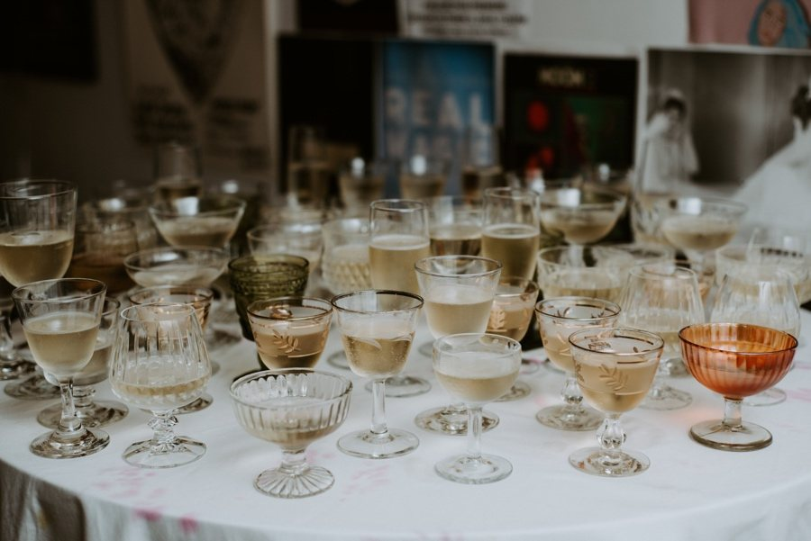 mismatched champagne glasses