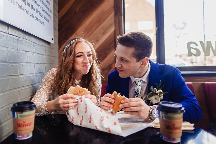 bride groom eating wawa hoagies