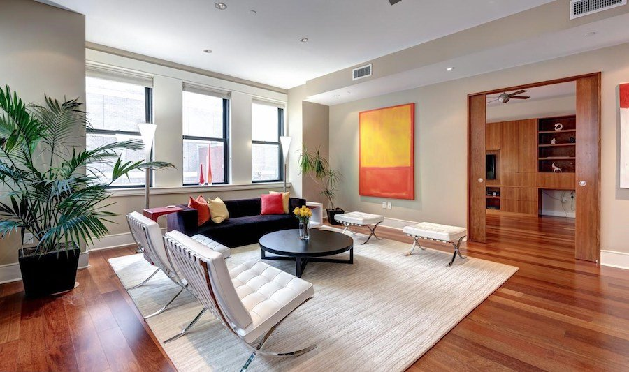 condo for sale rittenhouse modern unit living room and bedroom