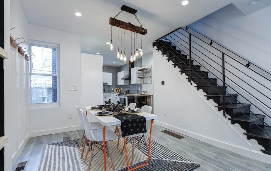 house for sale west passyunk rehabbed row dining room and kitchen