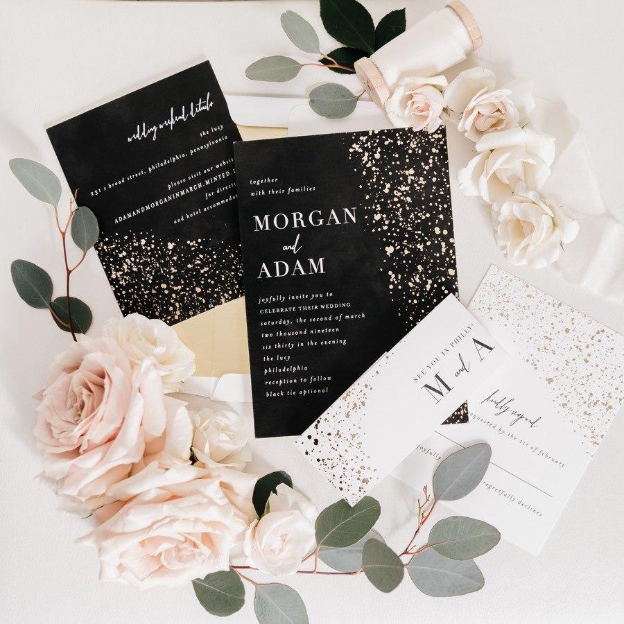 glam black gold wedding invitations
