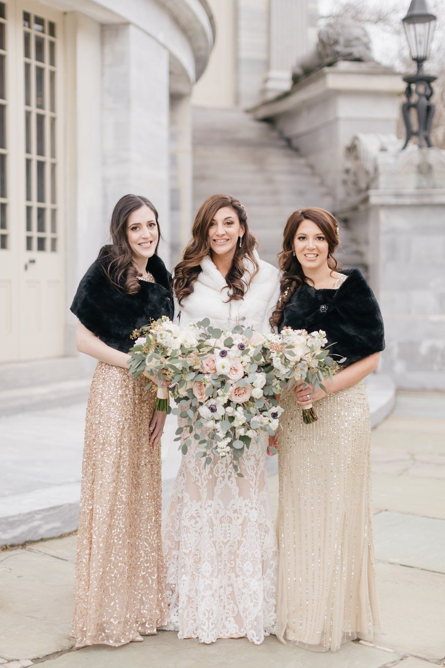 gold-sequin-bridesmaid-dresses-winter