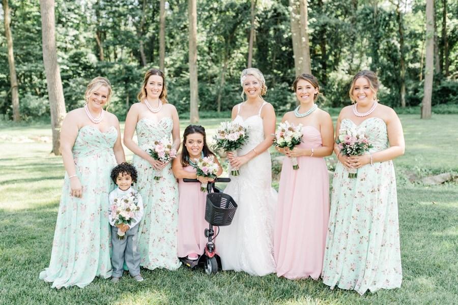 rustic pink teal bridesmaid dresses