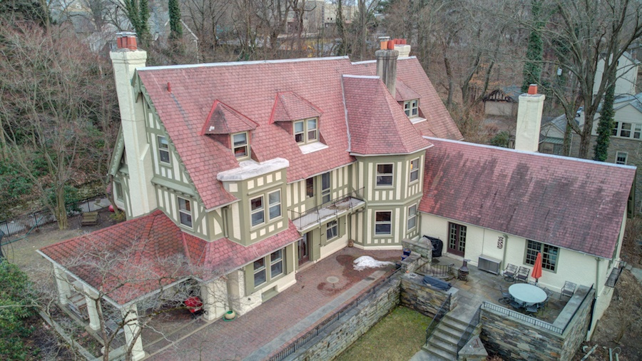 house for sale chestnut hill tudor revival exterior rear