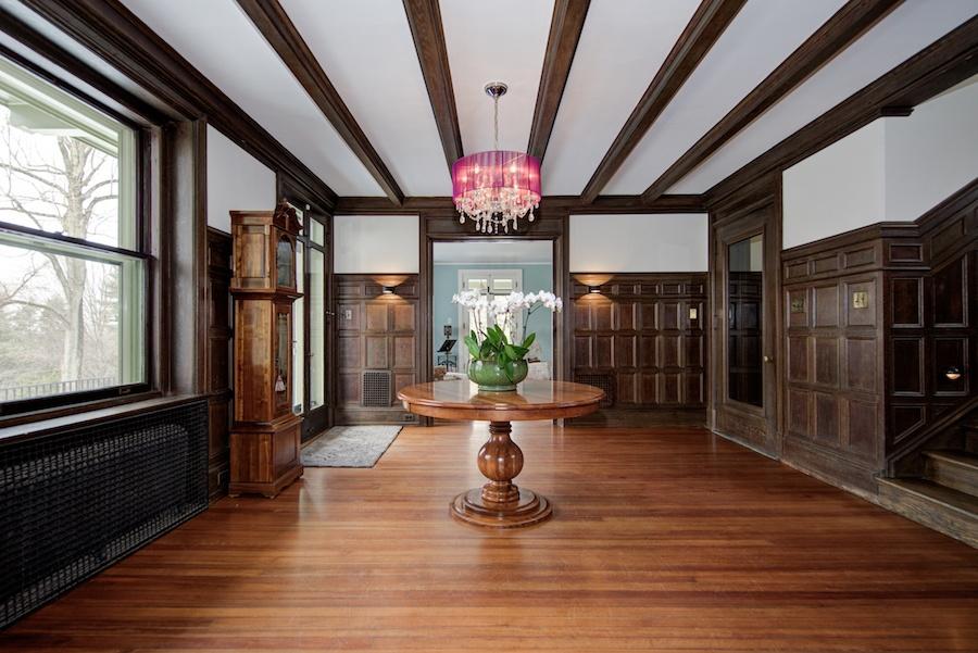 house for sale chestnut hill tudor revival foyer