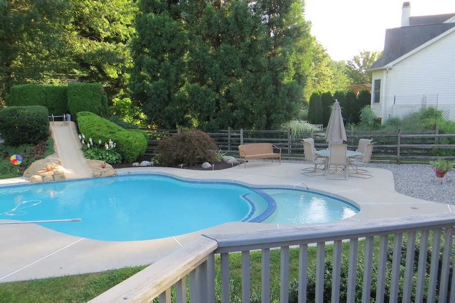 house for sale newtown square accessible neotraditional view of pool from deck