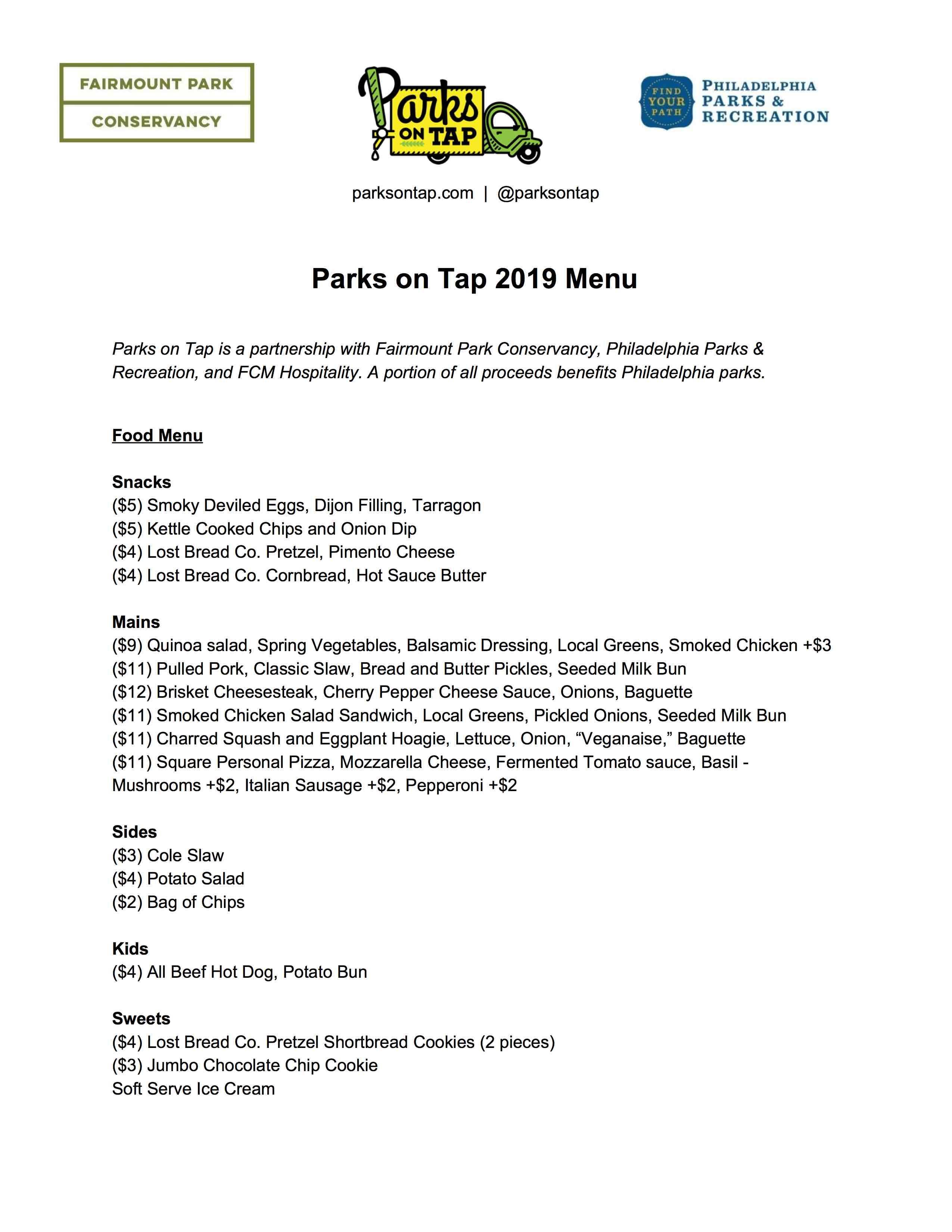 parks on tap menu philadelphia