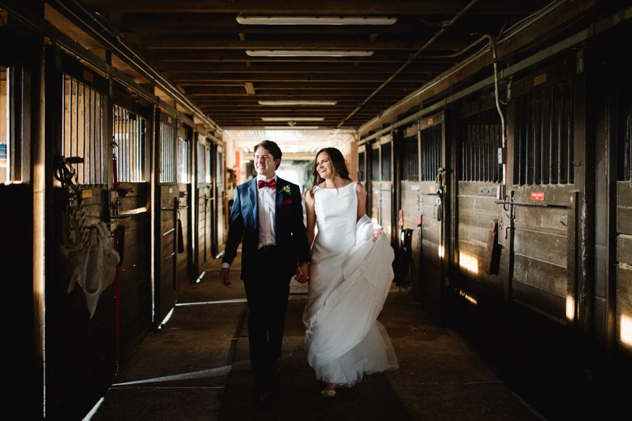 horse stable wedding portraits