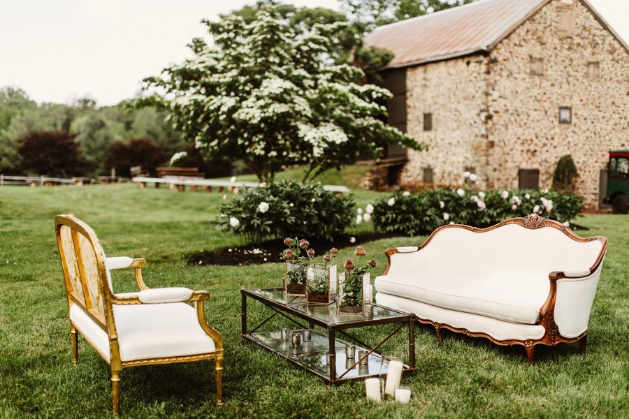 outdoor cocktail hour at an at-home wedding