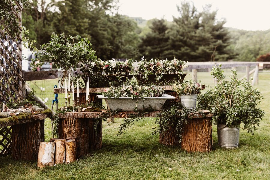 rustic pink and green wedding flowers