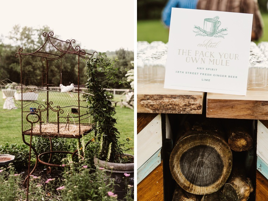 rustic wedding cocktail hour