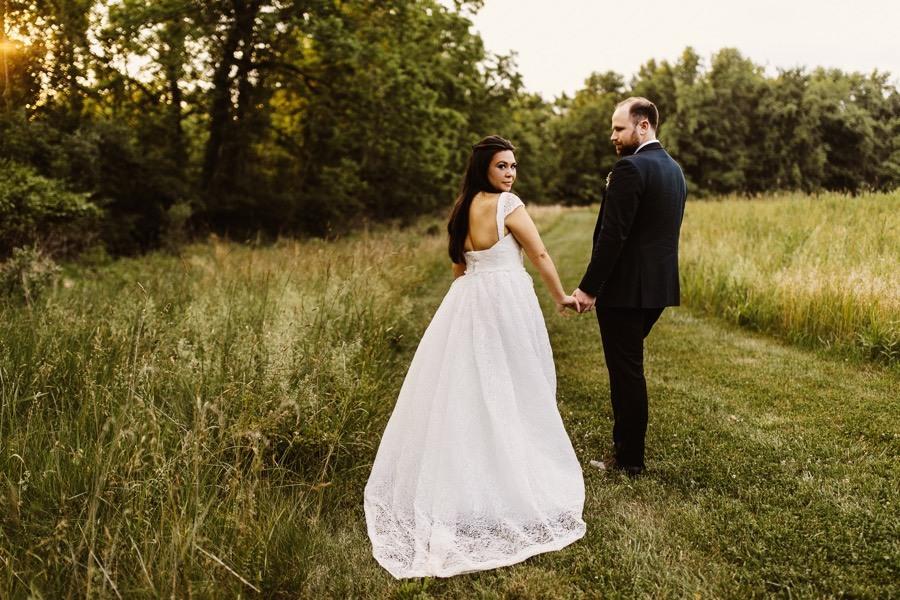 golden hour wedding photo
