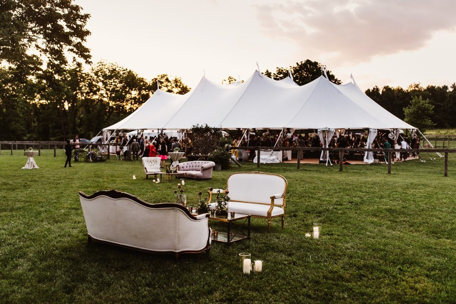 at-home tented wedding