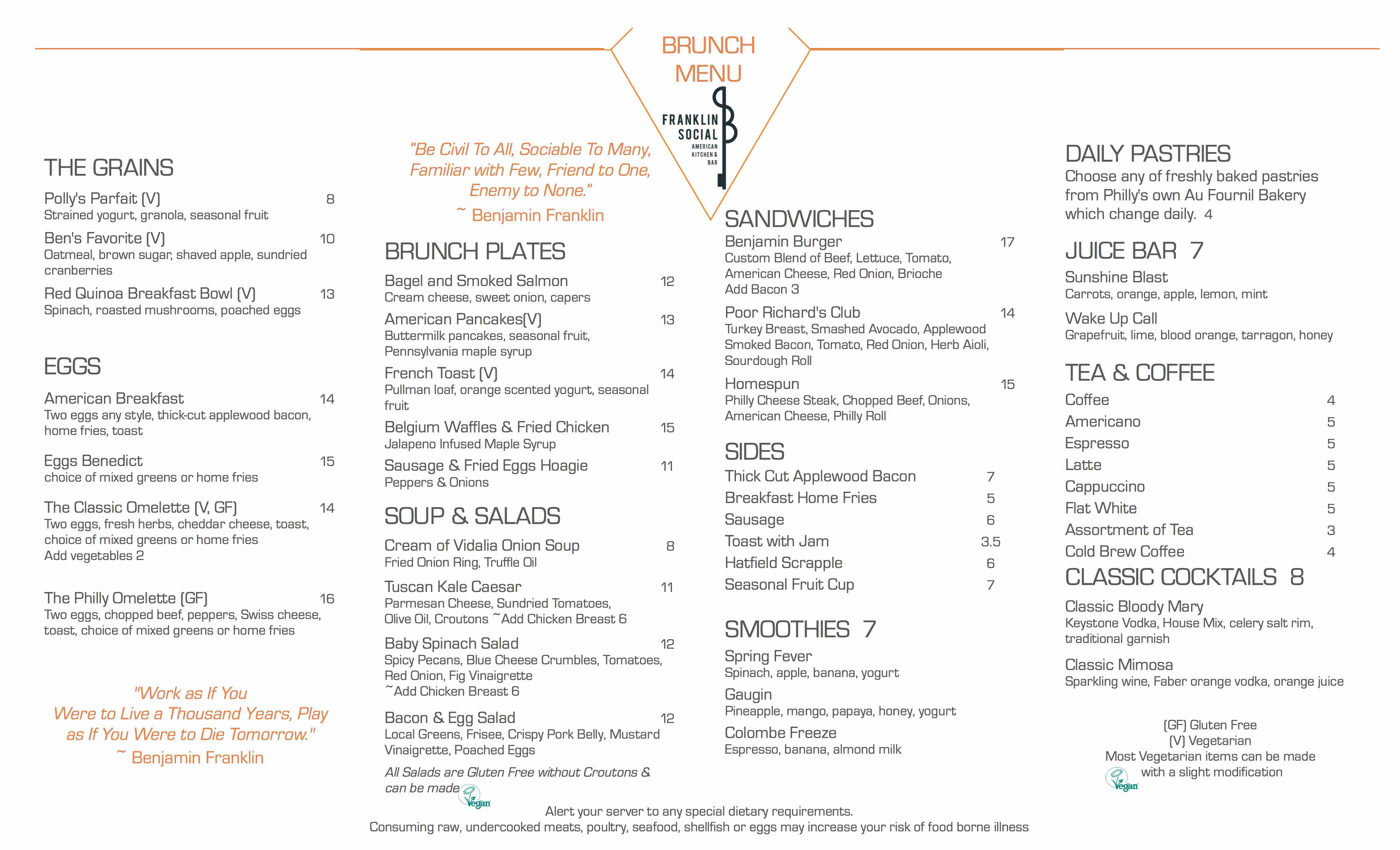 franklin social brunch menu