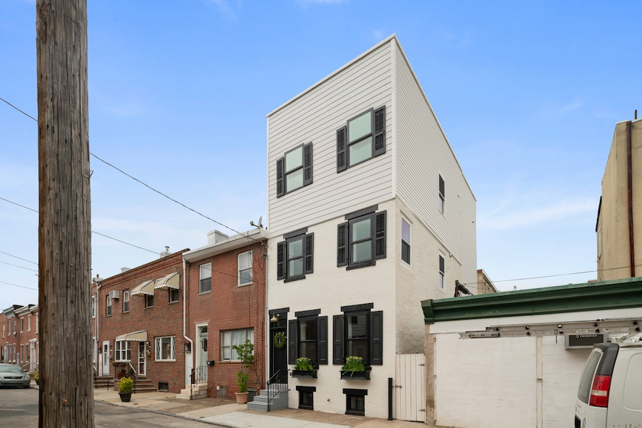 house for sale pennsport rehabbed expanded rowhouse exterior perspective view