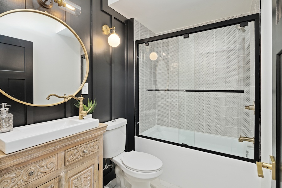 house for sale pennsport rehabbed expanded rowhouse second-floor bathroom