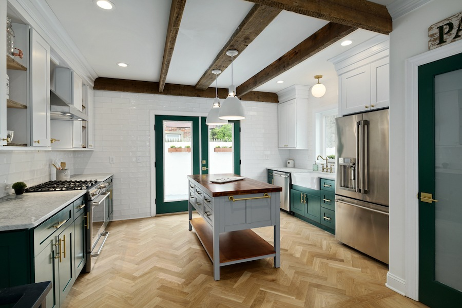 house for sale pennsport rehabbed expanded rowhouse kitchen with pantry