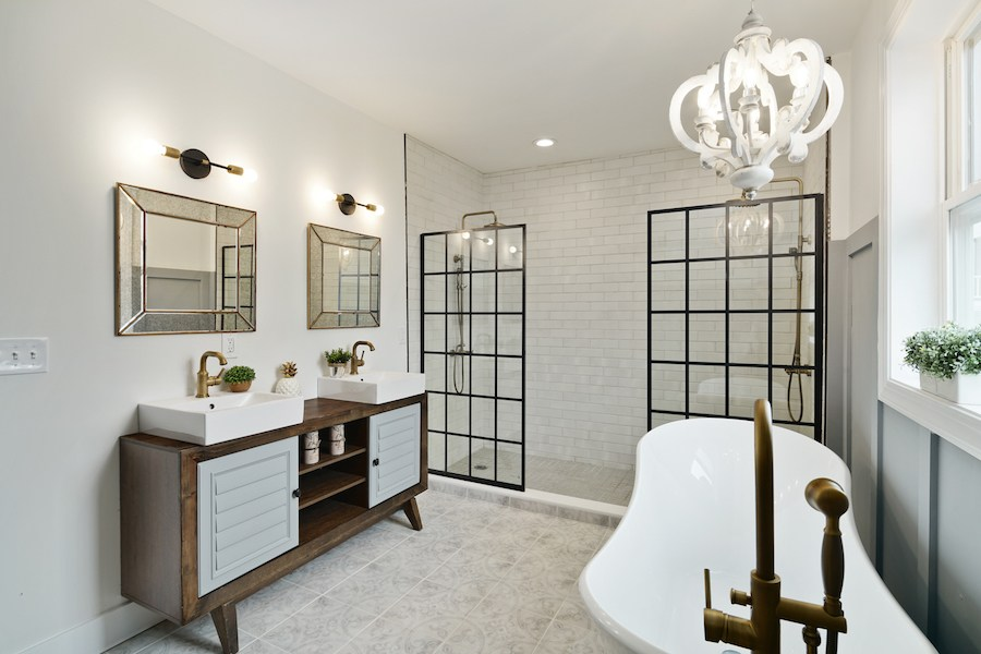 house for sale pennsport rehabbed expanded rowhouse master bathroom