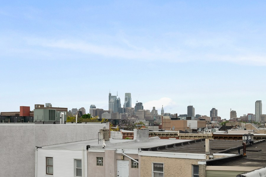 house for sale pennsport rehabbed expanded rowhouse view from roof deck