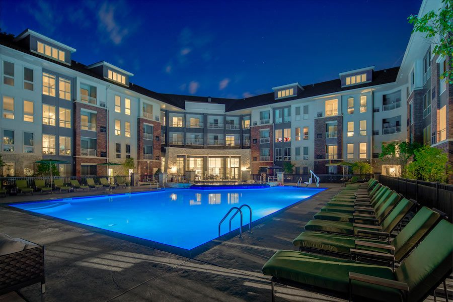 maybrook apartment profile pool at night