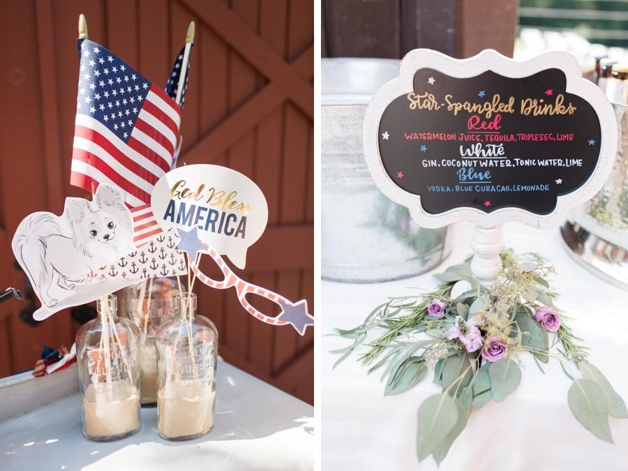 Patriotic cocktail menu