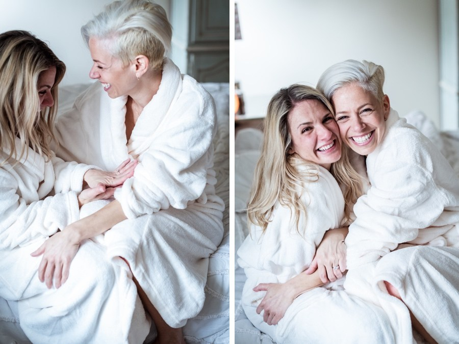 same-sex marriage proposal at home in robes