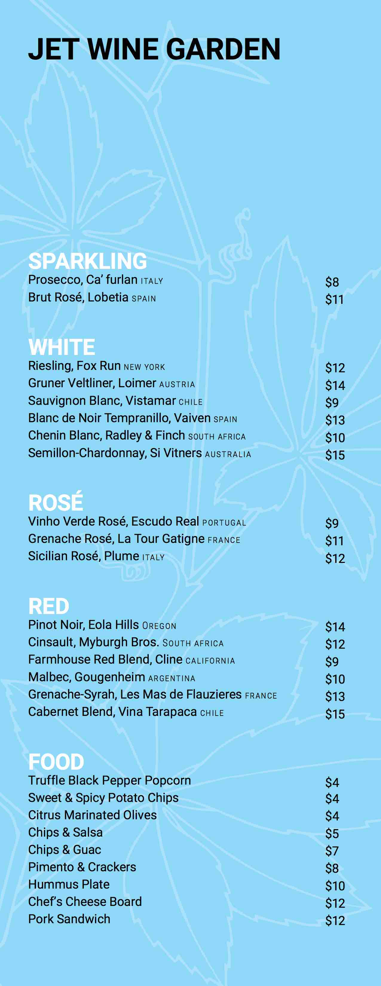 jet wine garden menu philadelpihia